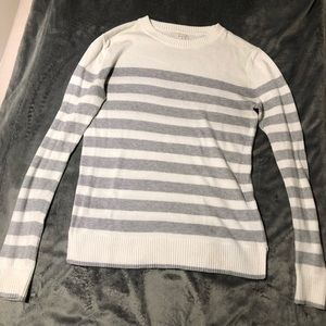 Sweaters - White and grey striped sweater.